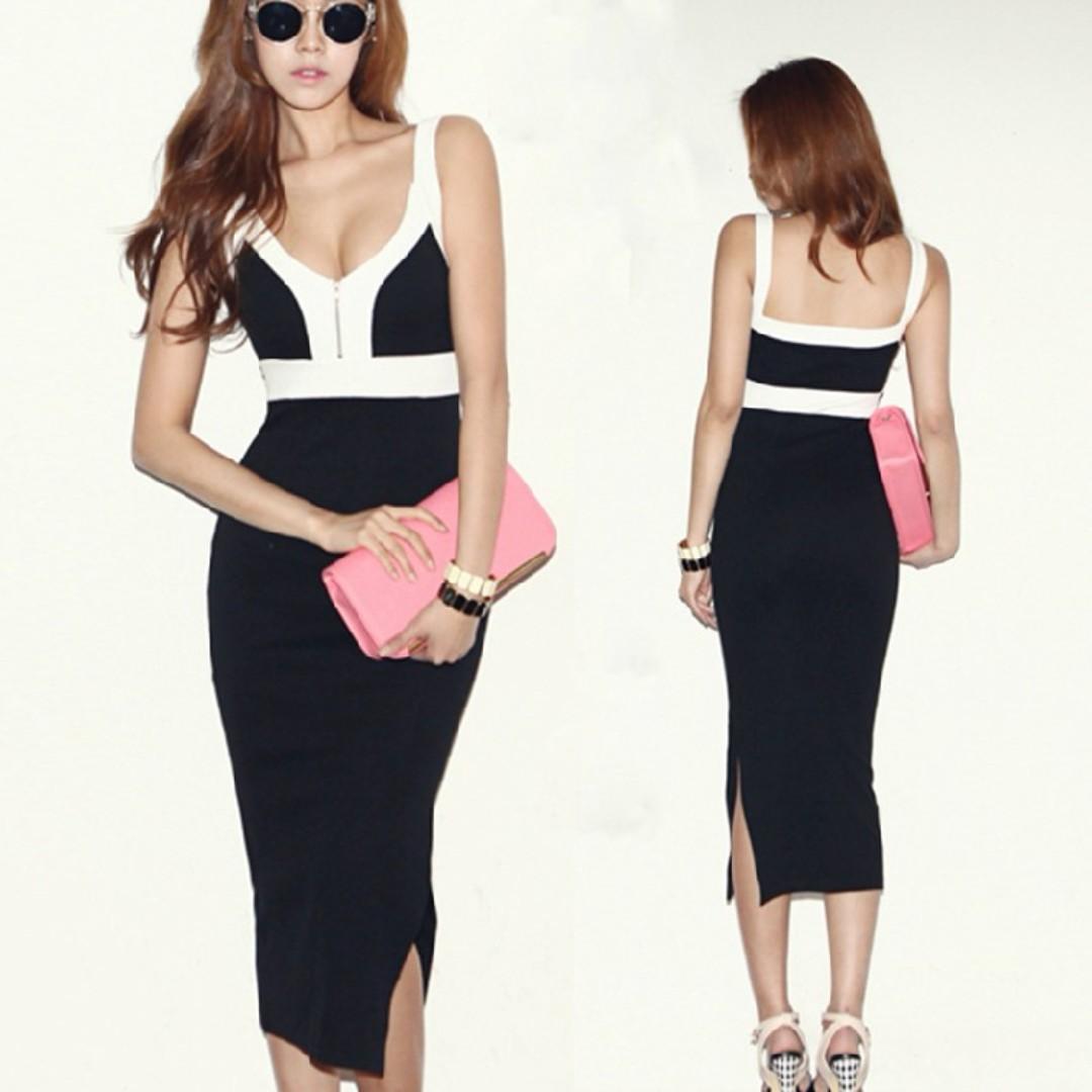 Black & White Bodycon Midi Dress