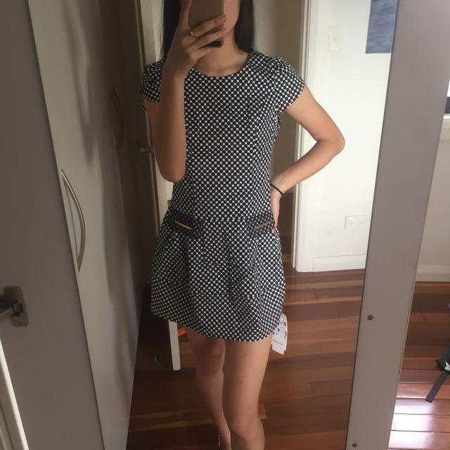 Black and white polka dot a line dress