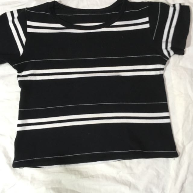 Black and White Stripes - Midriff