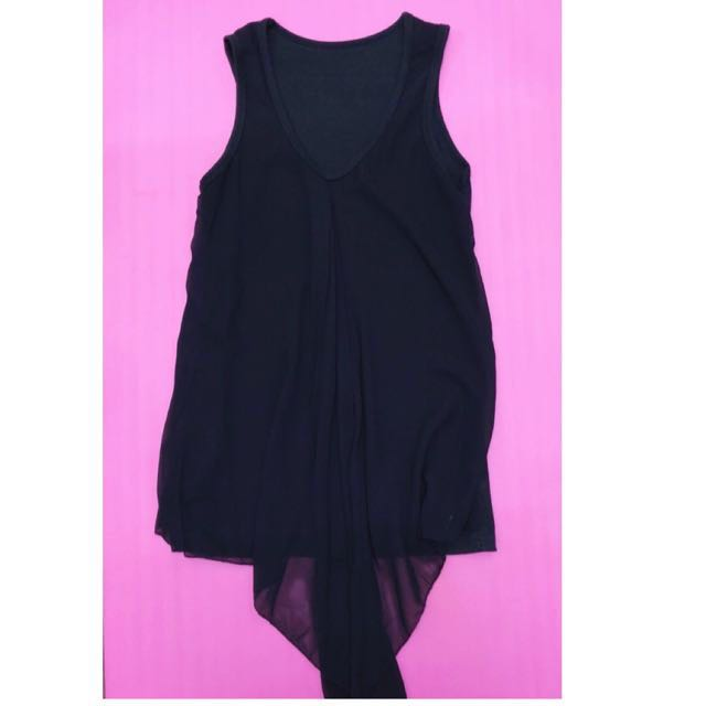 Black chiffon sleeveless blouse  #midjan55