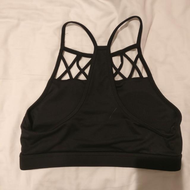 Black cotton on body sports bra