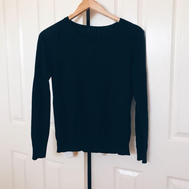 Black Knitwear Sweater Top
