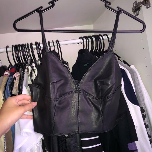 Black leather crop/bralette