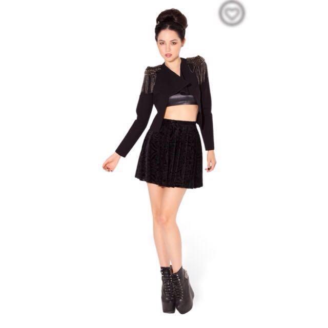 Black Milk Burned Velvet Skater Skirt