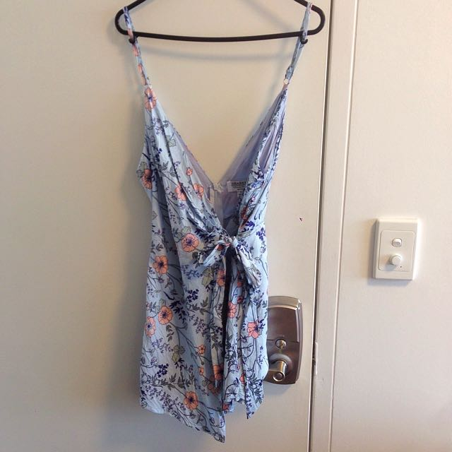 Blue Floral Wrap Playsuit - Size 8