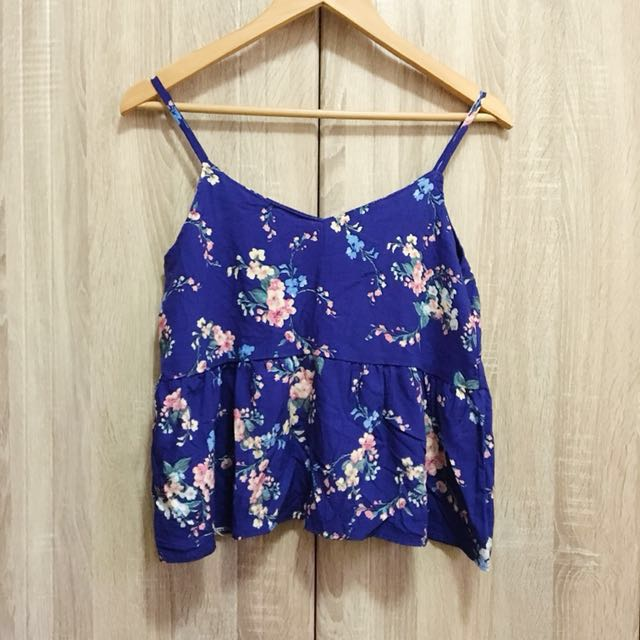 Blue peplum sando top