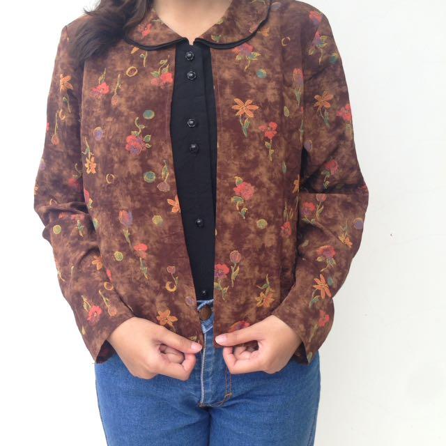 Browny blazer blouse
