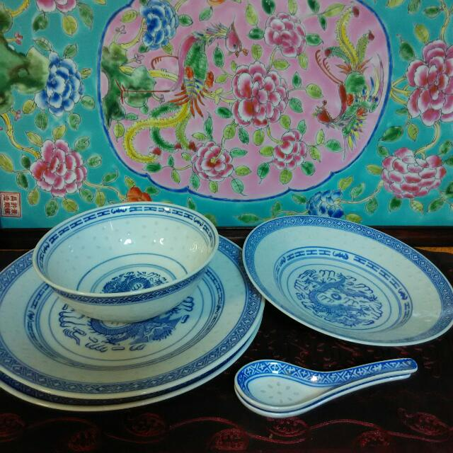 Chinese Plates, Bowl, Spoons