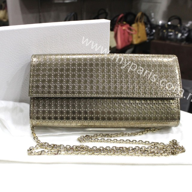 Christian Dior Lady Dior Croisiere Wallet In Metallic Champagne Perforated  Calfskin f09a1033cef6a