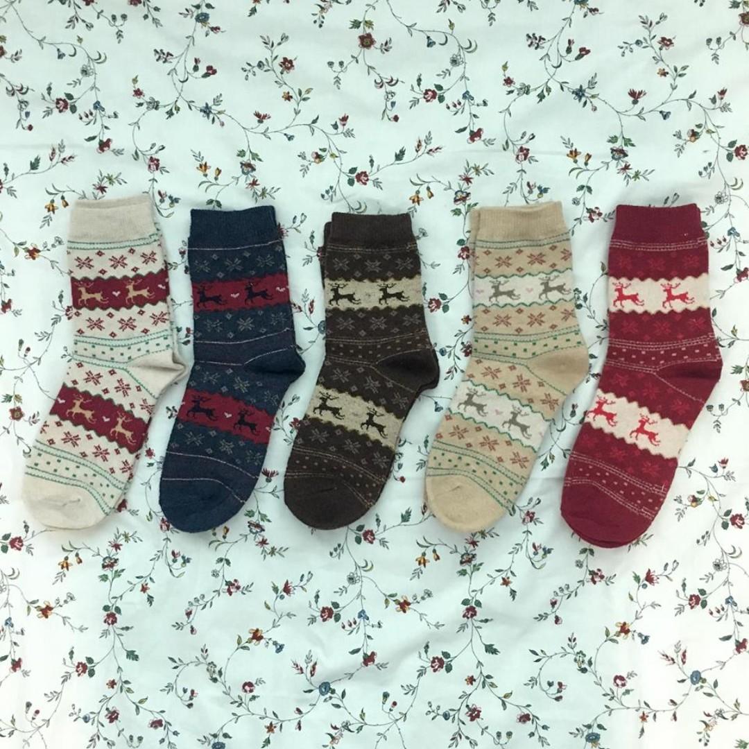 Christmas reindeer wool socks bundle
