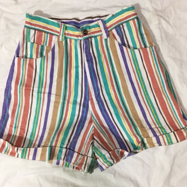 Colored Stripes - High Waisted Shorts