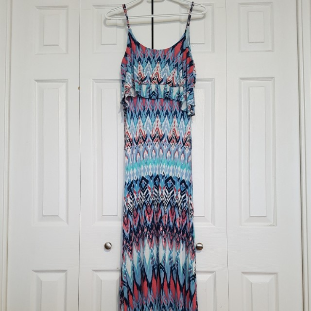 Colourful patterned maxi dress (S)