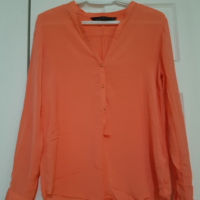 Coral Zara button down (M)