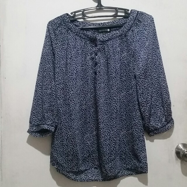 Cotton On 3/4 sleeves Blue and White Top