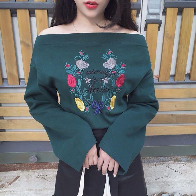 Embroidered Flora Off Shoulder Long Sleeve Top