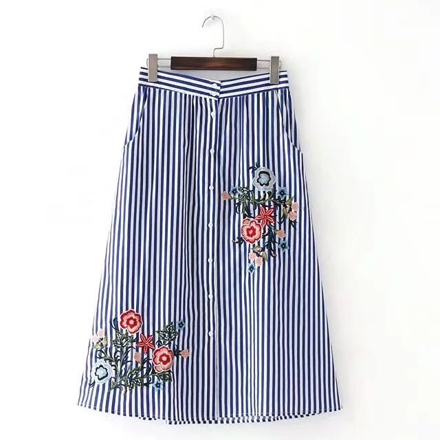 Embroidered Striped Skirt