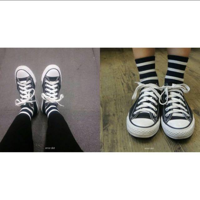 。error dot。韓國製簡單生活基本深藍X白條紋羅紋襪子