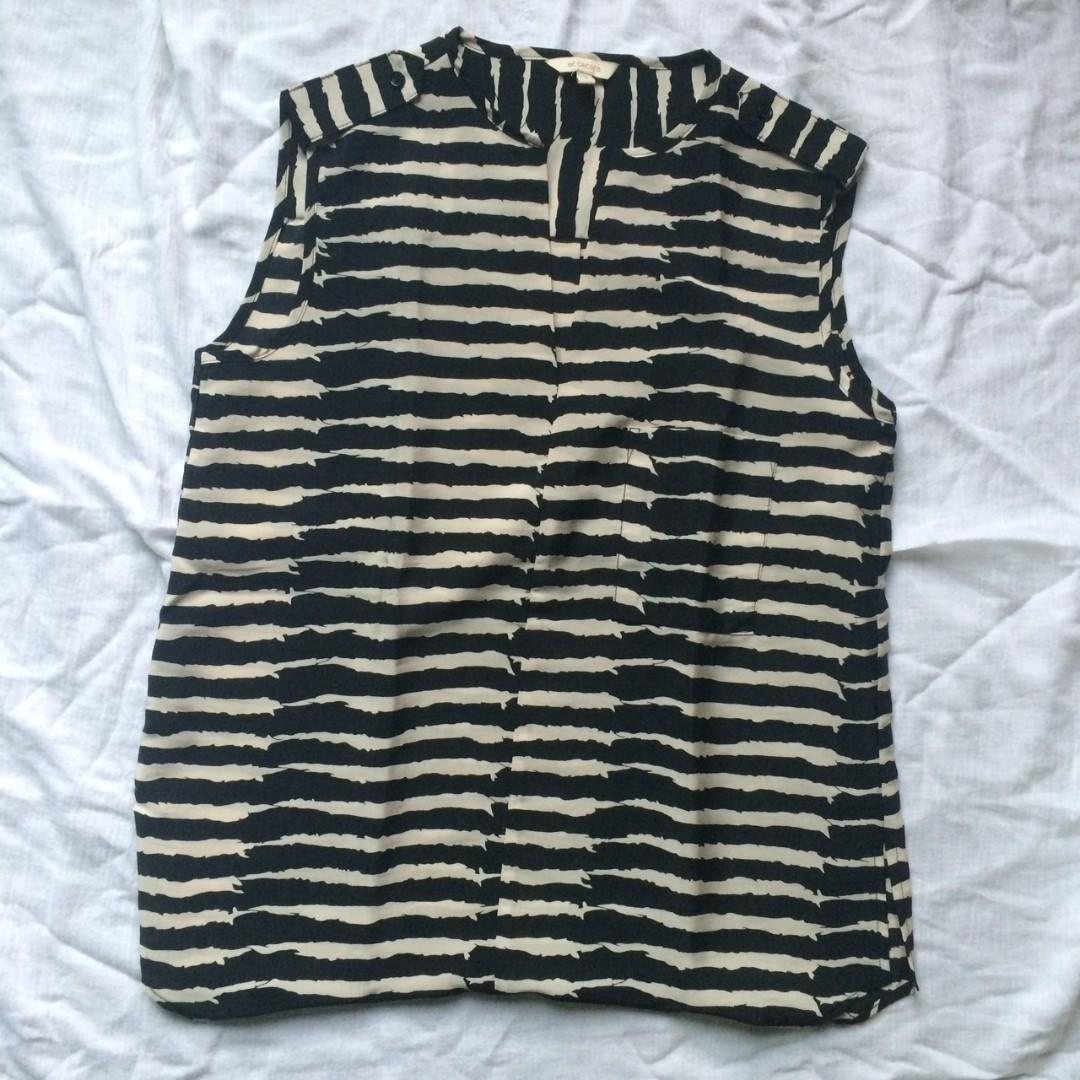 ET CETERA Black Striped Sleeveless Top