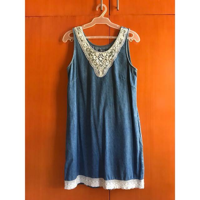 E-vie Sleeveless Denim Dress