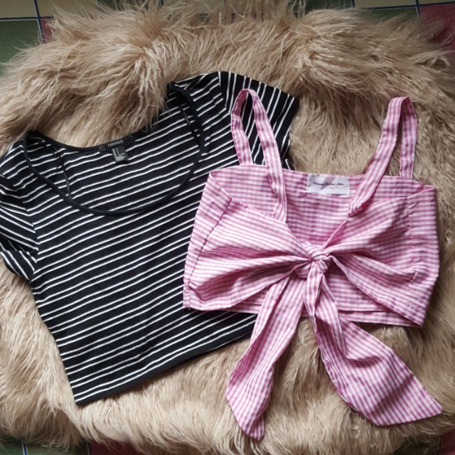 💕F21 Cropped top + Gingham TieKnot Top