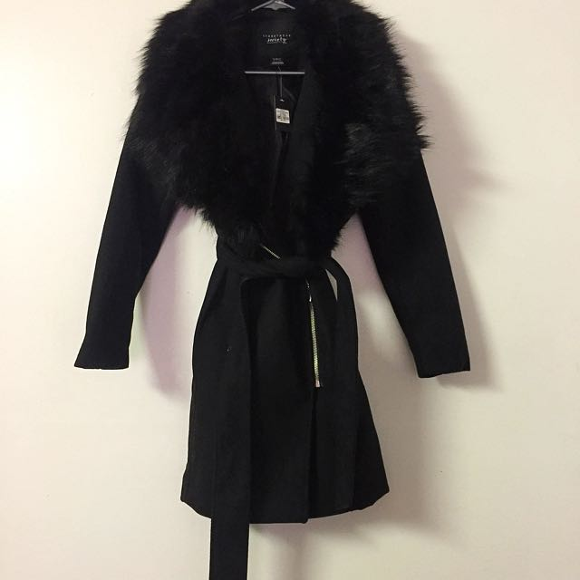 Faux fur trench coat