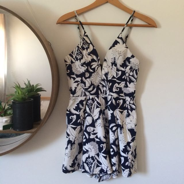 Fitted Playsuit navy blue/white floral DOLLYGIRL FASHION