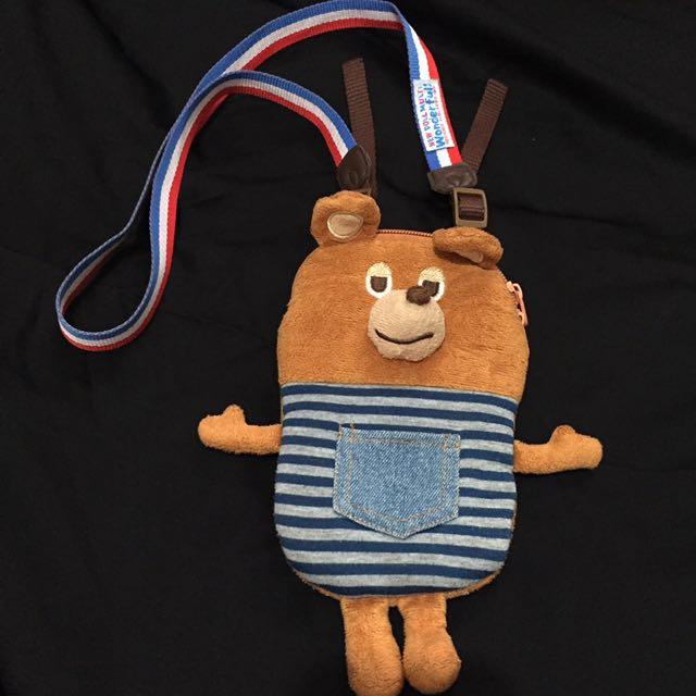 GLADEE 熊 胸前手機包 悠遊卡包