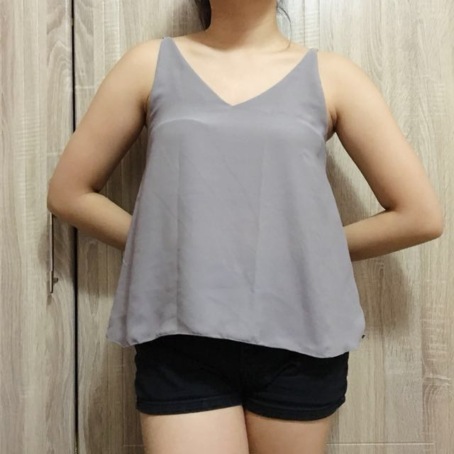 Gray flowy top