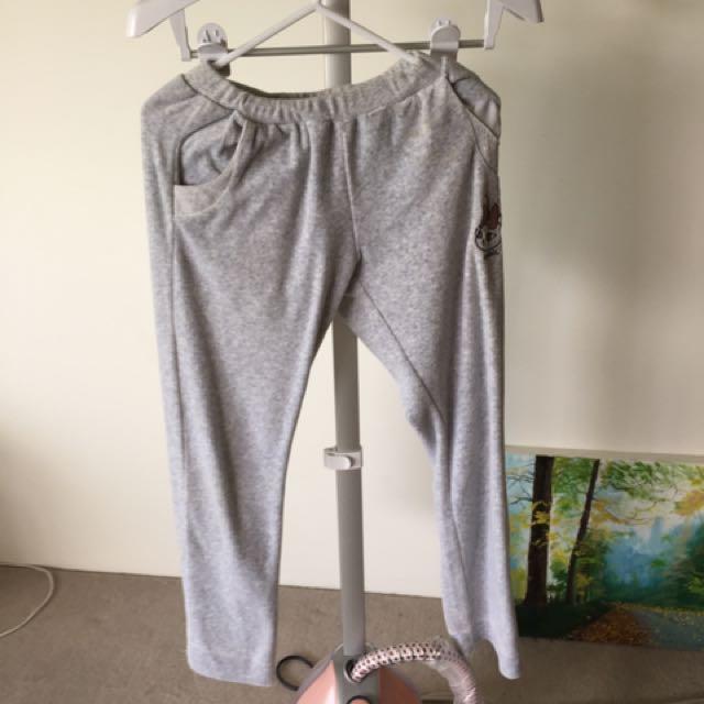 Grey velvet pants