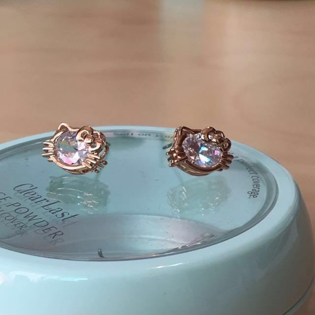 HELLO KITTY 玫瑰金超美水鑽耳環