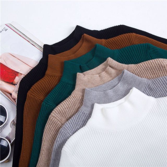 High Neck Knitted Ribbed Plain Basic Long Sleeve Top