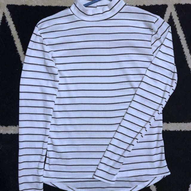 High Neck Long Sleeved Top White/Black striped
