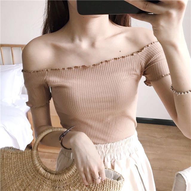 Knitted Ribbed Off Shoulder Basic Plain Short Sleeve Top
