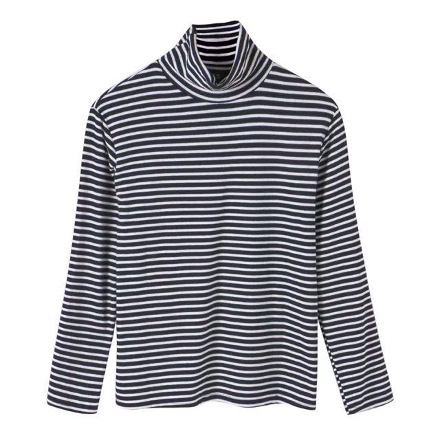 Knitted Ribbed Stripes High Turtle Neck Long Sleeve Top