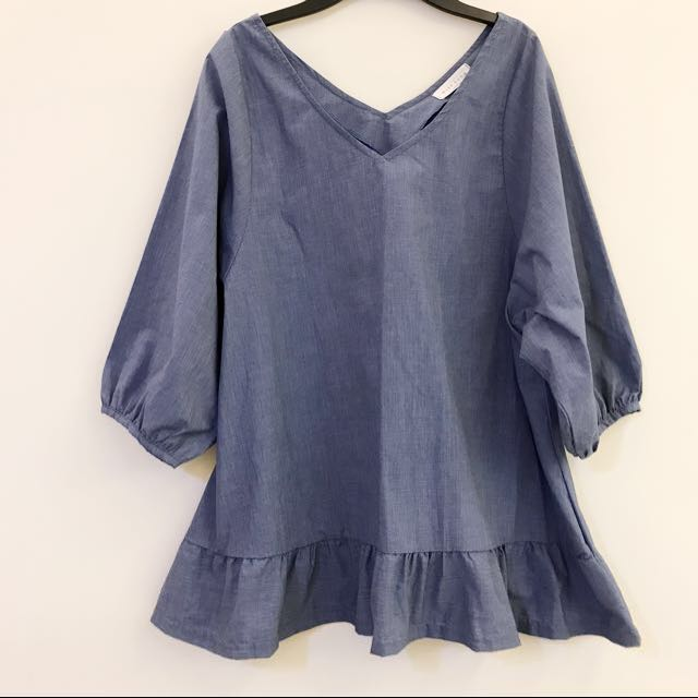 轉賣)(Korea)粉藍色七分袖上衣
