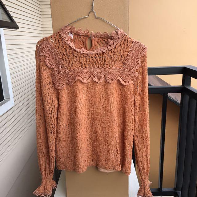 KOREAN blouse brukat terracotta orange korea