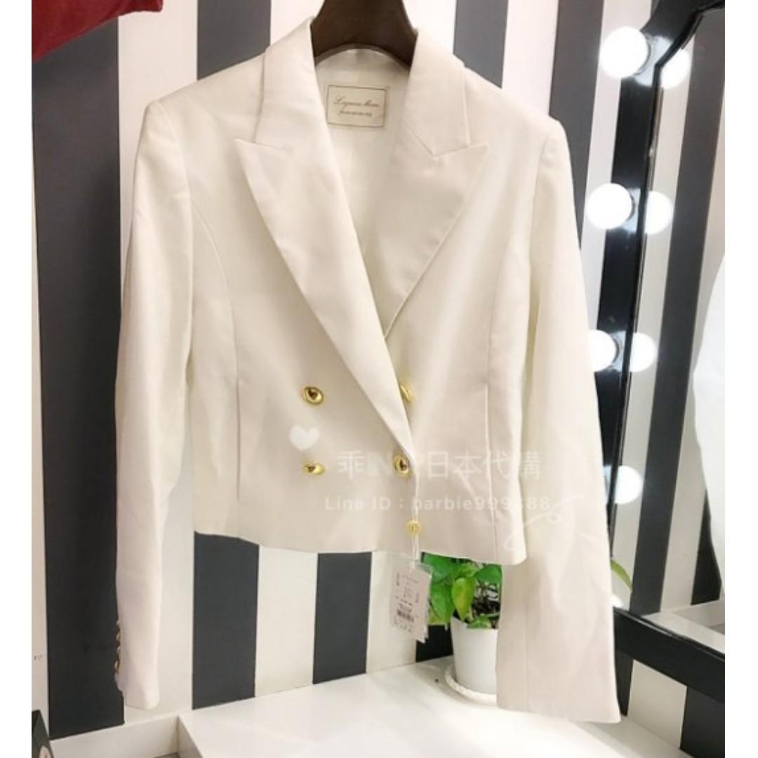 全新日貨LAGUNAMOON 短版雙排釦 長袖西裝外套 米白M vis miia mercuryduo zara