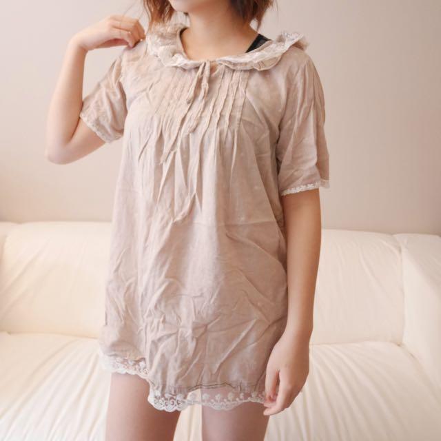 Light brown vintage linen dress