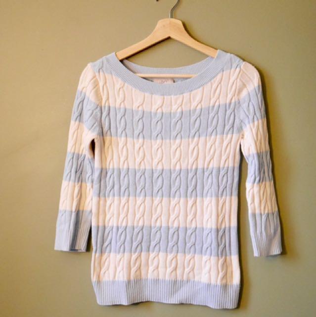 LOFT blue and white stripe knit sweater