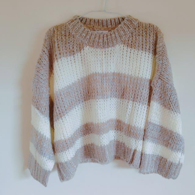 Lulu's 混色橫紋針織上衣