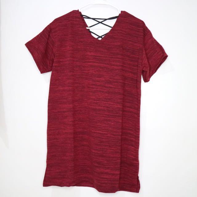 Maroon Jersey Shirt Dress