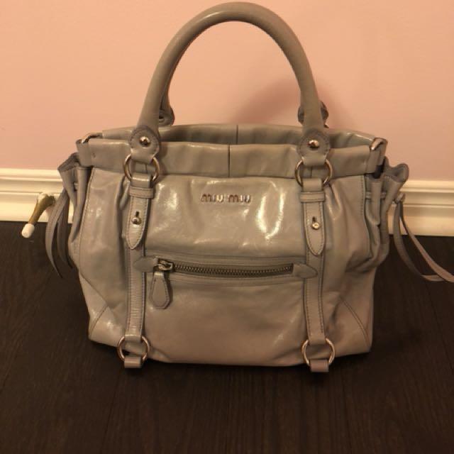 Miu Miu Grey Vitello Lux Leather Bag