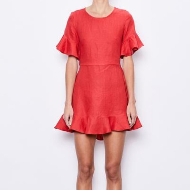 MLM Label Sound Ruffle Linen Dress Size XS