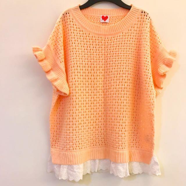 轉賣)Moss嫩粉橘波浪袖 白色蕾絲下擺短袖 上衣