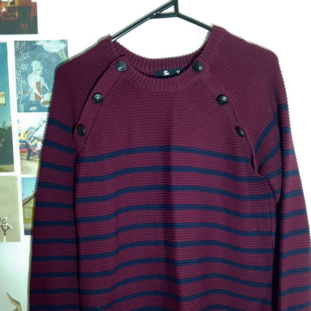 Navy and burgundy striped sweater