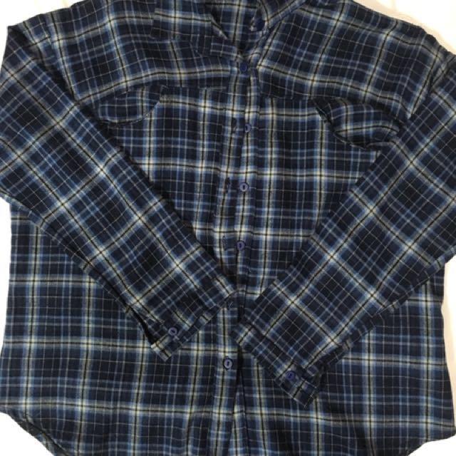 Navy Blue Checkered Polo
