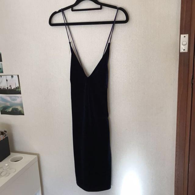 Navy Velvet Bodycon Dress