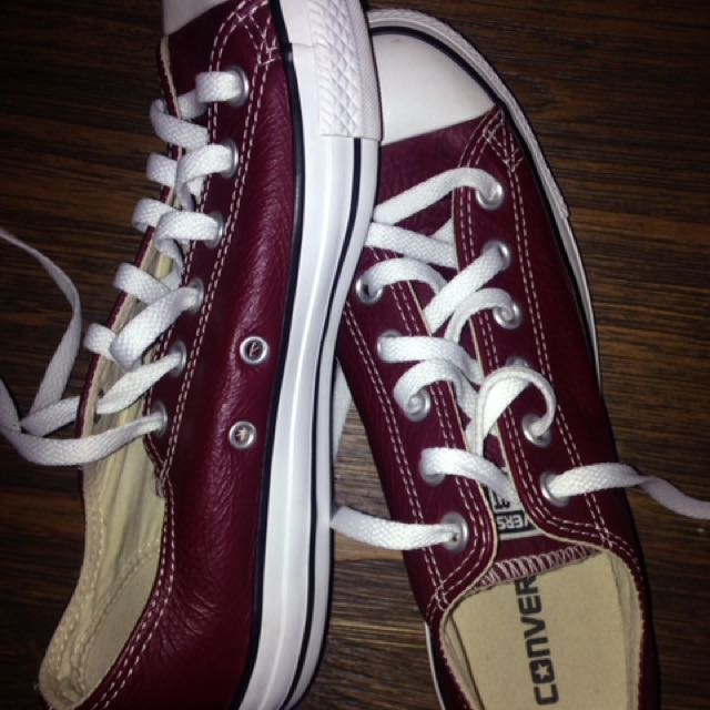 New Burgundy Leather Converse