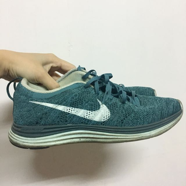 NIKE 藍綠色 flyknit lunar 跑步鞋