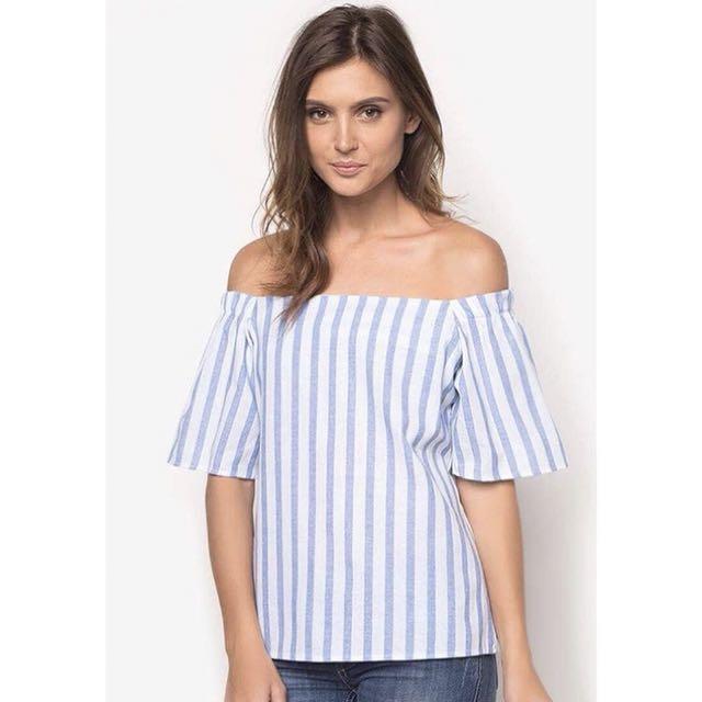 Off-shoulder striped top